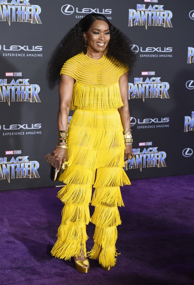 Angela Bassett wears Naeem Khan on the Black Panther red carpet. Chris Pizello/AP