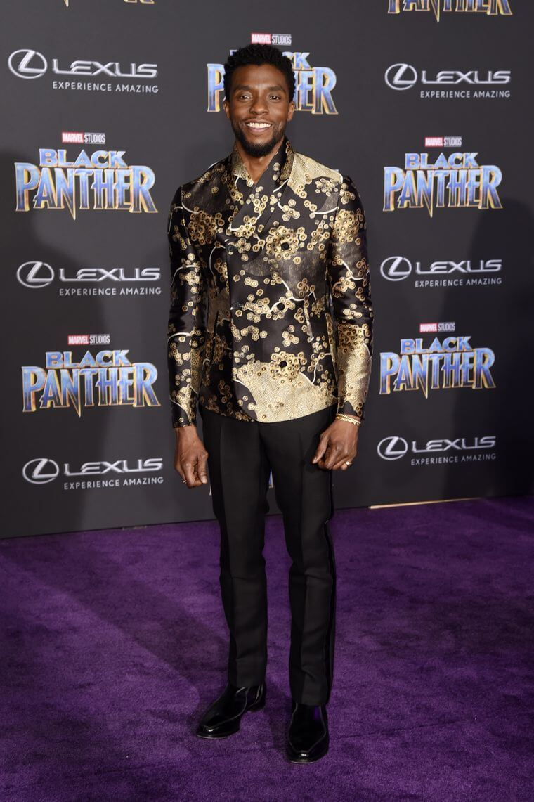 Chadwick Boseman wears Emporio Armani on the Black Panther red carpet. Chris Pizello/AP