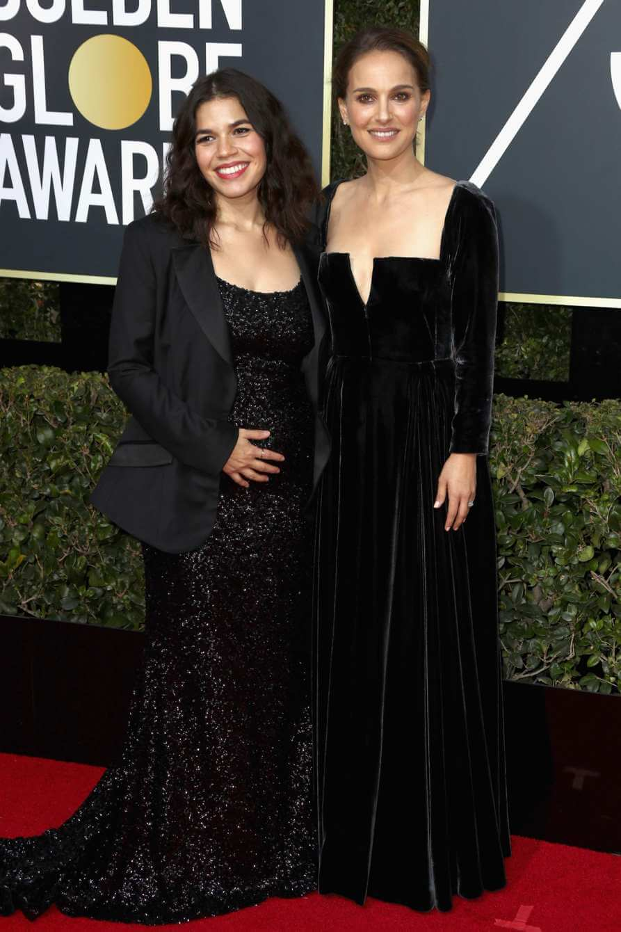 America Ferrera and Natalie Portman at the 2018 Golden Globes.
