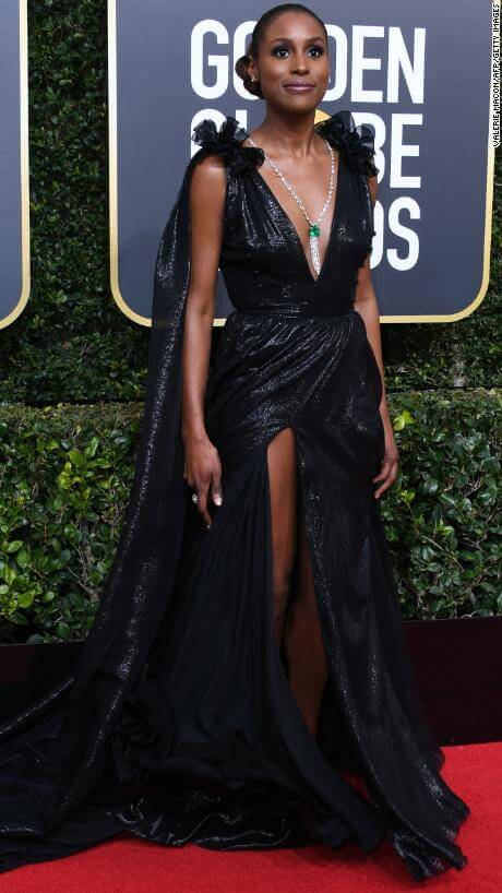 Issa Rae arrives for the 75th Golden Globe Awards on January 7, 2018, in Beverly Hills, California. / AFP PHOTO / VALERIE MACON (Photo credit should read VALERIE MACON/AFP/Getty Images)