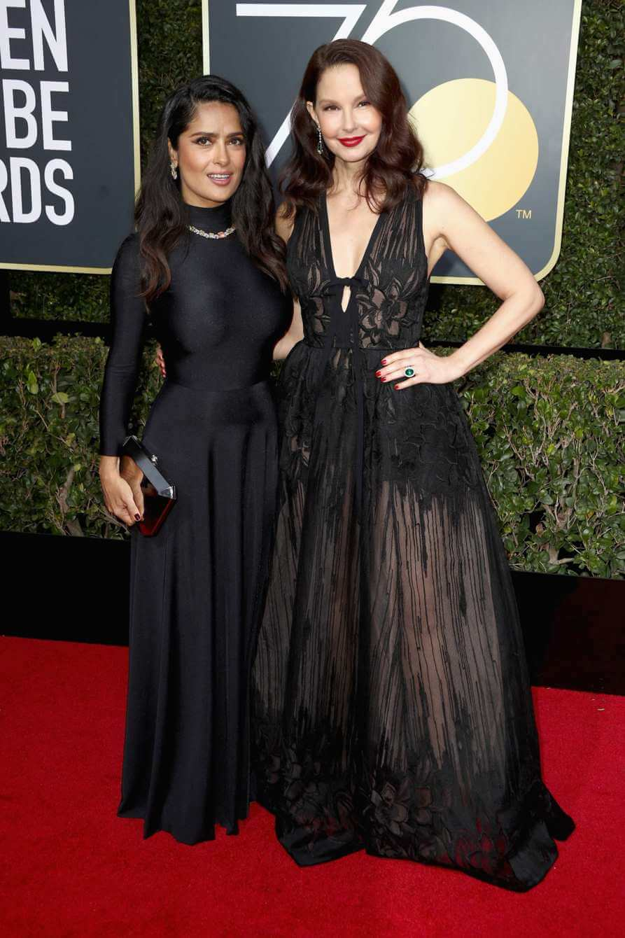Salma Hayek and Ashley Judd at the 75th Golden Globe Awards