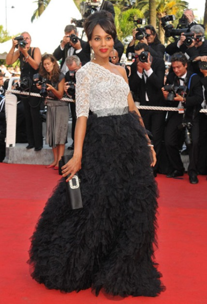 Kerry Washington, off-the-shoulder gown.