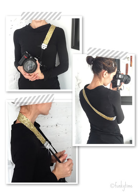 Cool camera strap for DSLR with glitter and rhinestones.