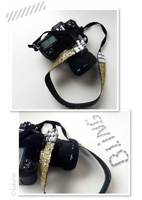 Cool Camera Strap: Glitter and rhinestones!
