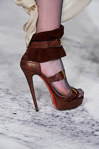 brown leather platform stiletto Christian Louboutin