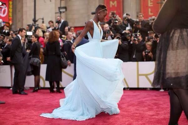 Lupita Nyong'o on the Oscar's red carpet