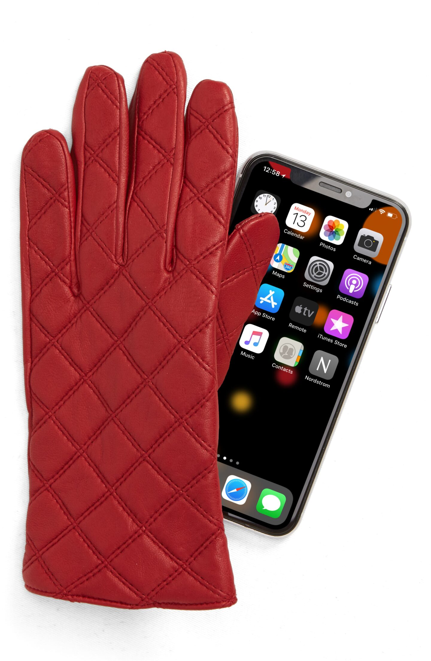 quilted red leather tech gloves