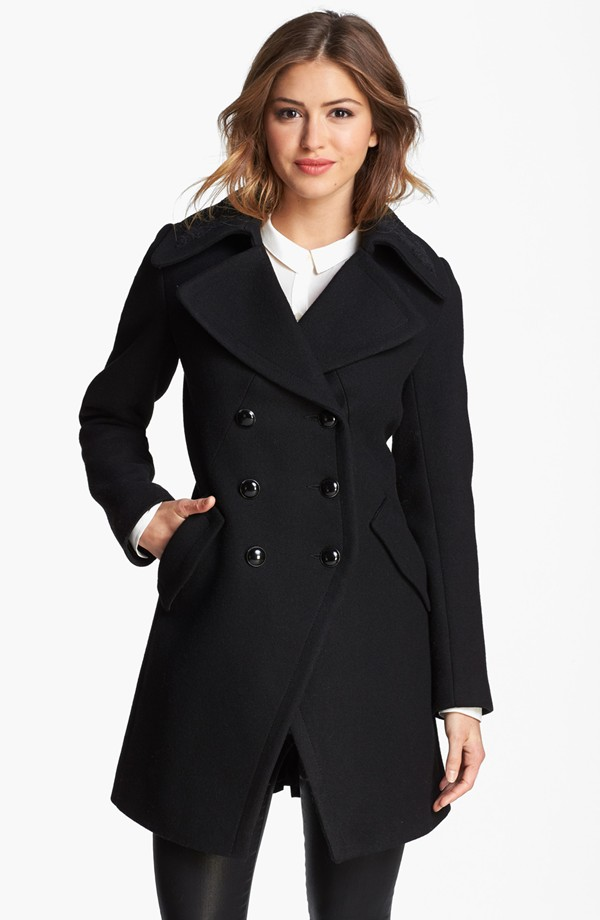 Trina Turk Double Breasted Officer's Coat