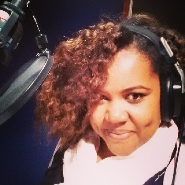 Patranila in the recording booth. Voiceover Actor