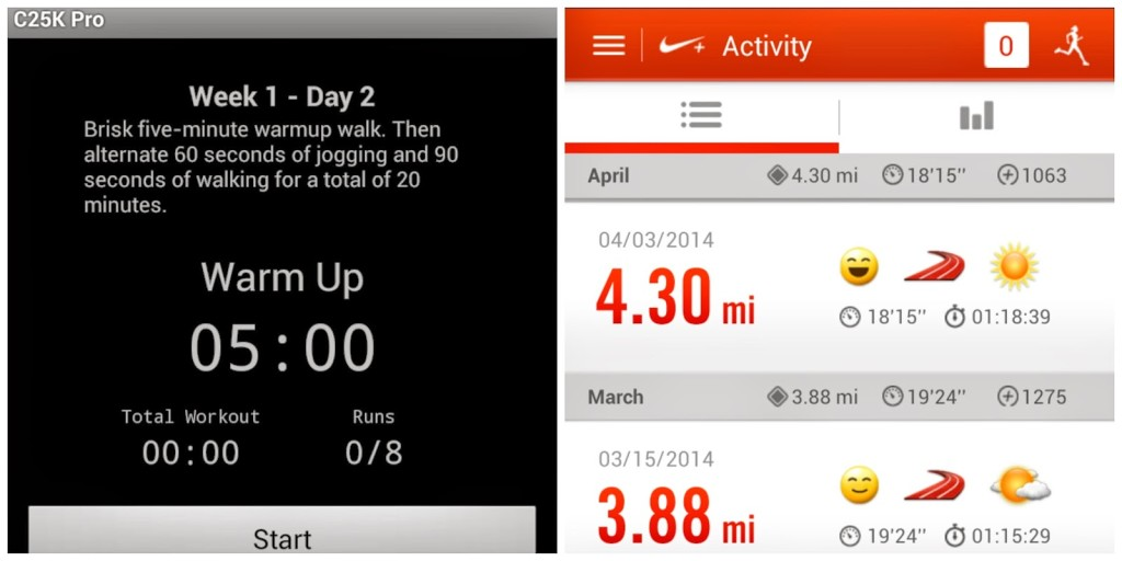 C25K and Nike+ make running easier and more fun! Training for a 5K.