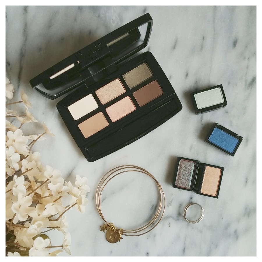 butter LONDON Shadow Clutch in Natural Charm and Wardrobe Duos in Moody Blues and Fancy Flutter