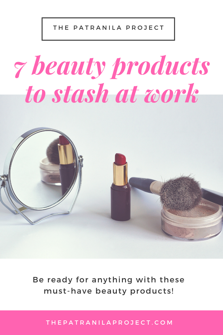 Be ready for anything when you keep these beauty products stashed at work. #makeup #lipstick #eyeliner #workingwomen #workingwoman #professional #women