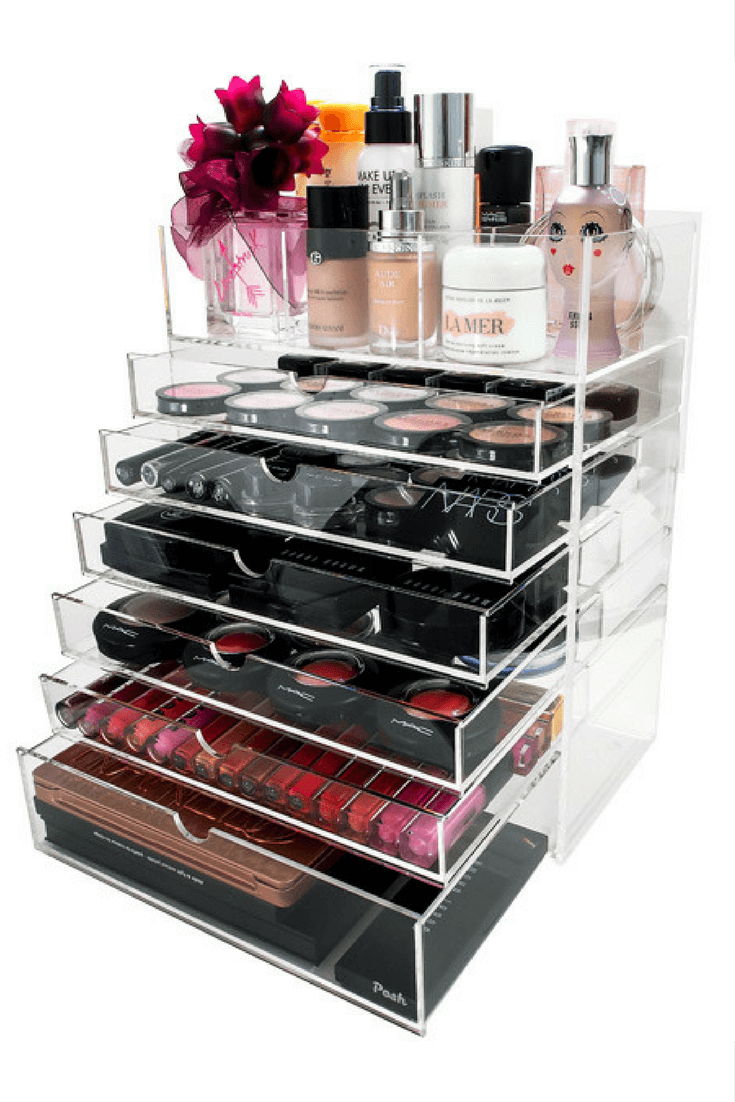 How to use acrylic organizers to organize and store your makeup for easy access.