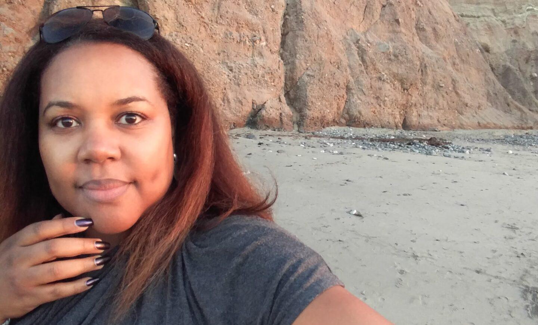 patranila on a beach in california