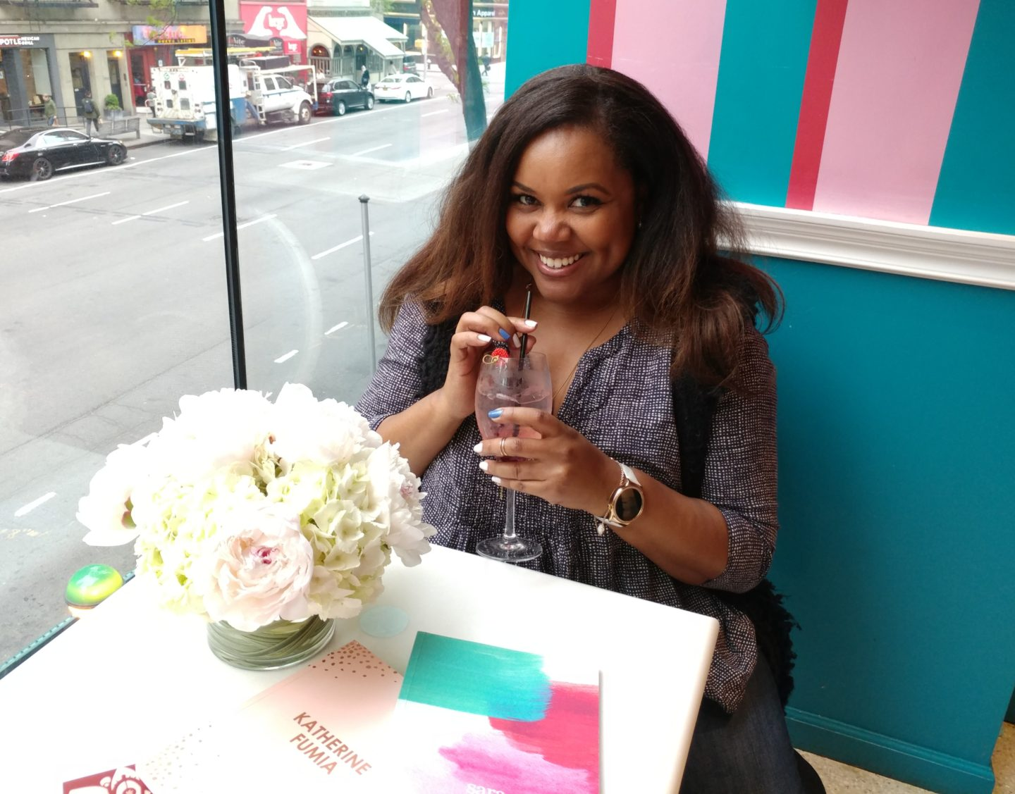 Patranila sips a signature cocktail at the Erin Condren Life Planner Launch