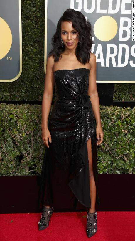 Kerry Washington arrives at the Golden Globes 2018