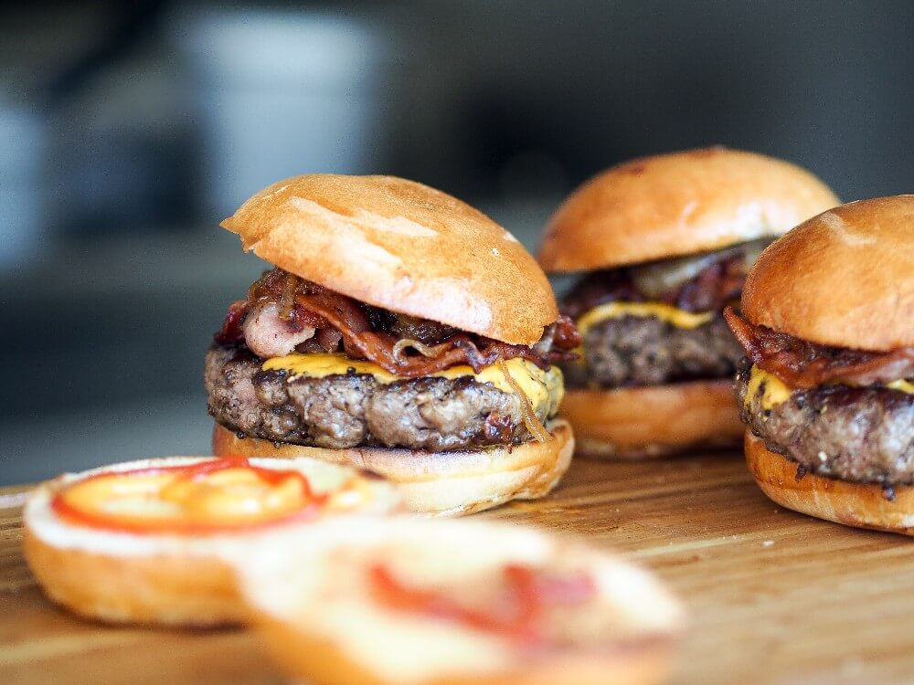 outdoor party food mini burgers