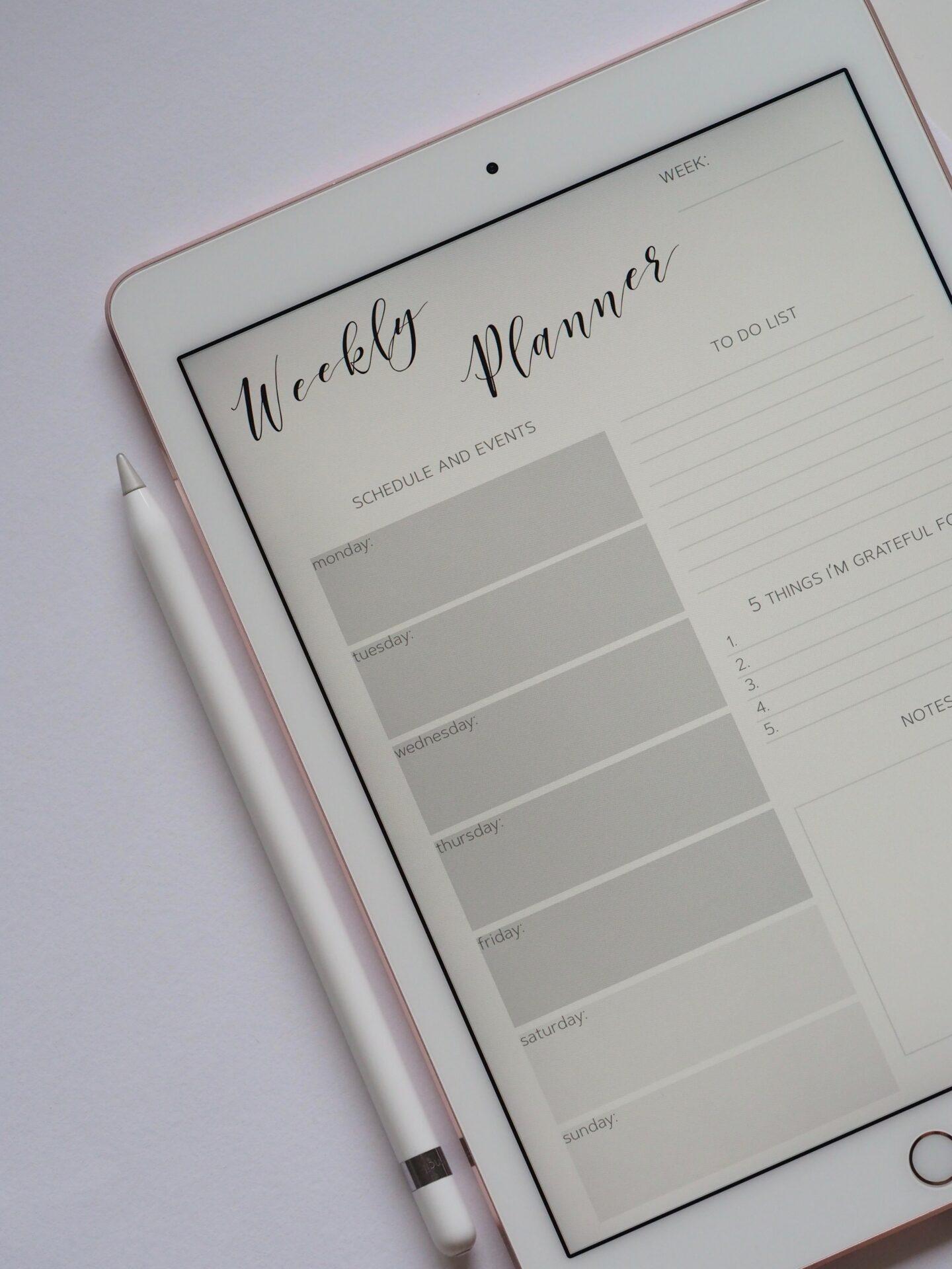 weekly planner on ipad