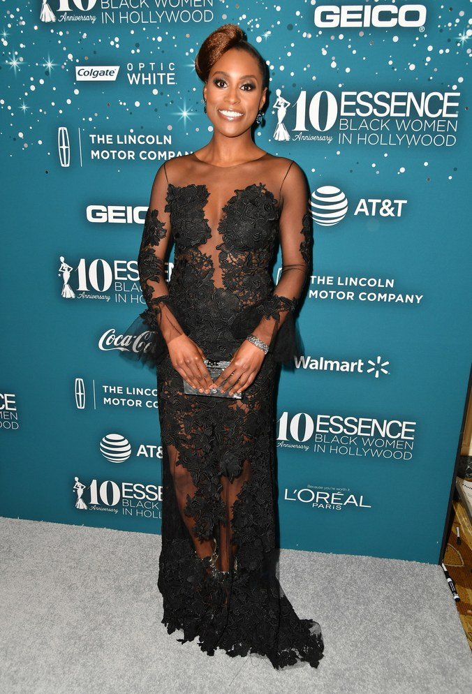 issa rae cut out black gown