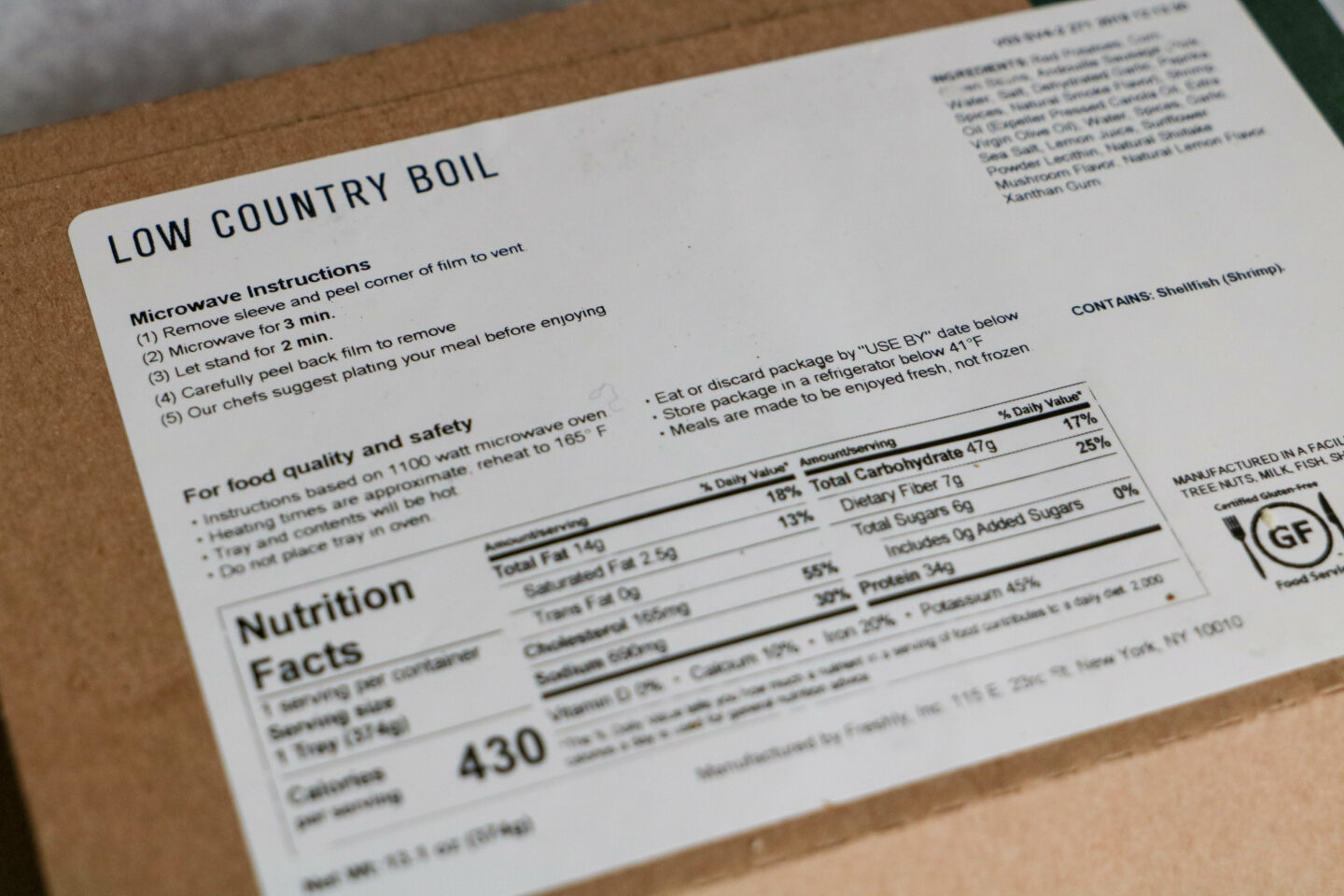 freshly low country boil instructions and nutrition facts