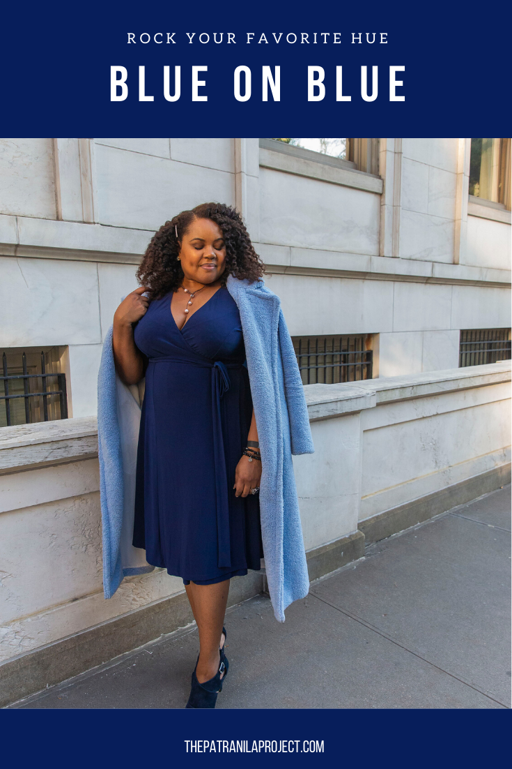 The blues have it! Serious without being somber, a deep blue wrap dress can take you from day to night with ease. Top it off with a dazzling sky blue teddy coat and you're ready for anything this fall.