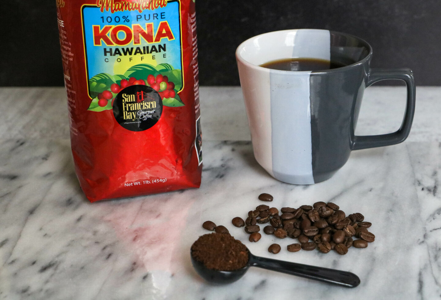 kona coffee beans ground and brewed