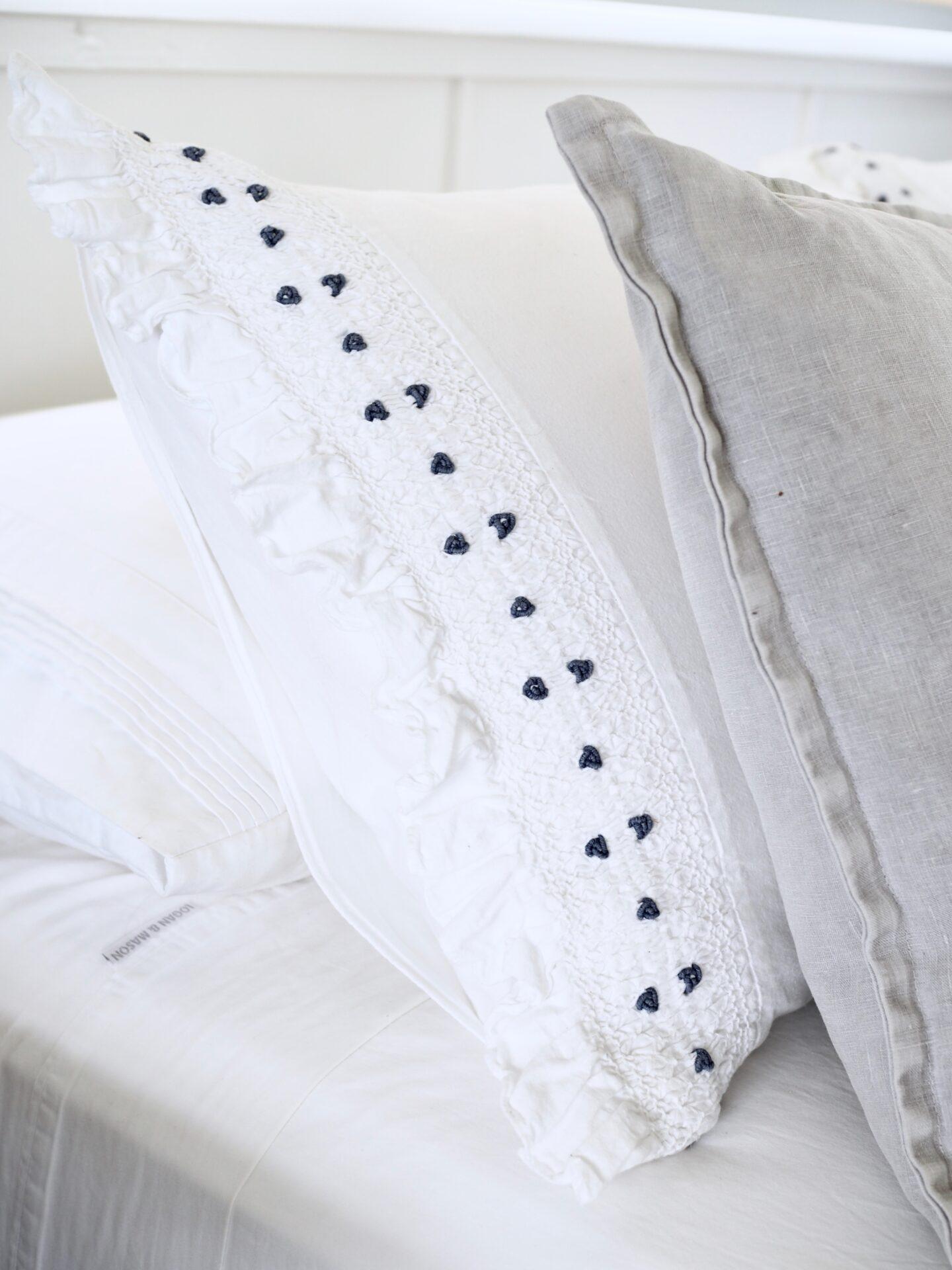 crisp white bed linens
